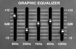Graphic equalizer on sound mixer. Close up.