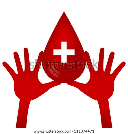 Graphic For Blood Donation Campaign Present By Two Hands Holding Red Blood Drop With Cross Sign Inside Isolated on White Background