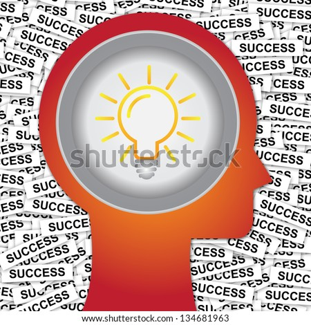 Graphic For Business Solution or Business Idea Concept Present By Red Head With Idea or Light bulb Sign Inside With Group of Success Label Background