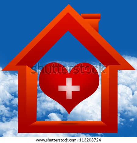 Graphic For Heart Donation Center Concept Present By The Red Heart With Cross Sign Inside The House in Blue Sky Background