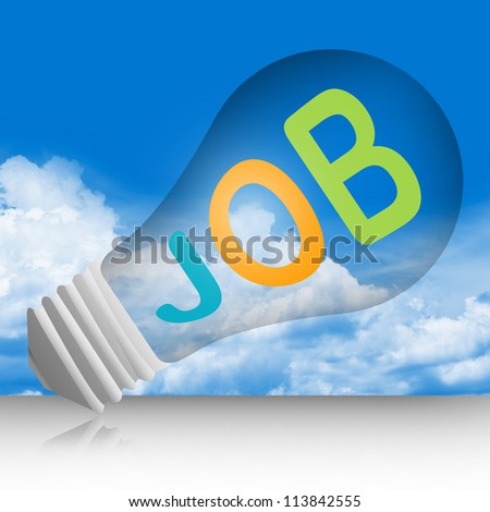 Graphic For Job Seeker Campaign, Light Bulb With Colorful JOB Text in Blue Sky Background