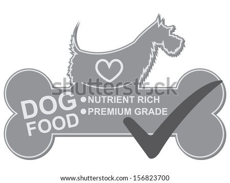 Graphic For Pet Business Present by Dog Food Text, Nutrient Rich and Premium Grade on Gray Dog Food Sign With Check Mark Isolated On White Background