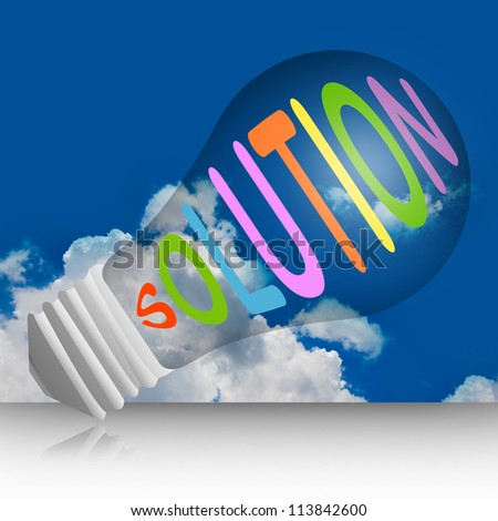Graphic For Problem and Solution Concept, Light Bulb With Solution Text in Blue Sky Background