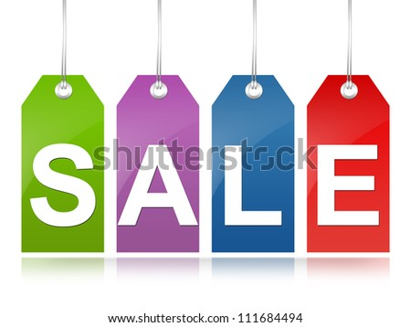 Graphic For Promotion and Sale Season Campaign, Colorful Sale Tag Isolated on White Background