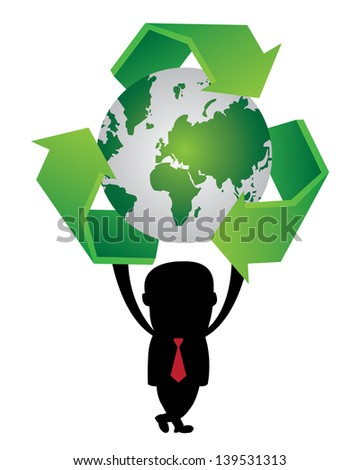 Graphic For Save The Earth or Stop Global Warming Concept Present By The Businessman Hold Green World and Green Recycle Sign Around Isolated on White Background