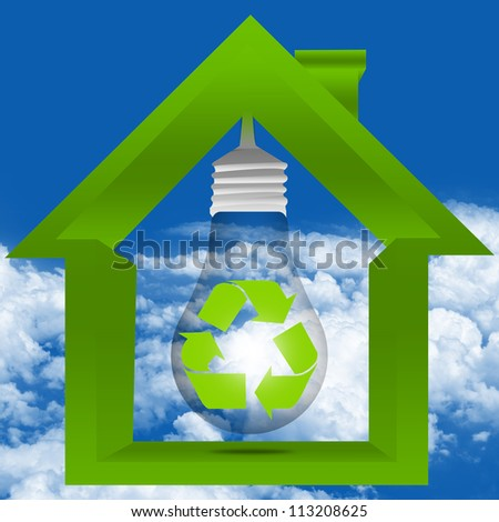 Graphic For Save The Energy and Save The Earth Concept Present By The Light Bulb With The Recycle Sign Inside The House in Blue Sky Background