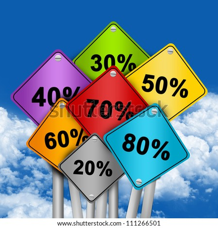 Graphic For Special Promotion, Colorful Traffic Sign With Many Percentage Discount in Blue Sky Background