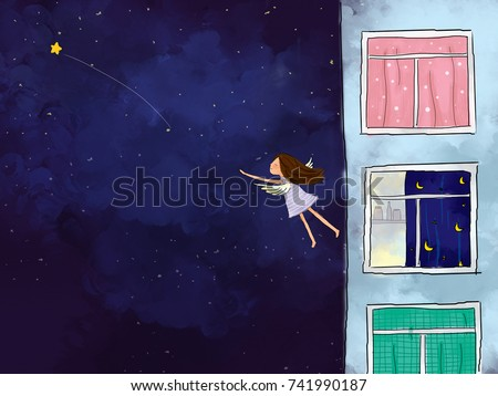 Stock Photo graphic illustration digital watercolor drawing of girl standing at apartment window looking to dark blue starry night sky. Idea of peaceful, flying, freedom, dreaming, imagination background design