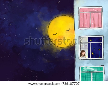 Stock Photo graphic illustration digital watercolor drawing of yellow full moon over dark blue starry night sky watching & guarding lonely girl reading in apartment house. Idea of peaceful background design