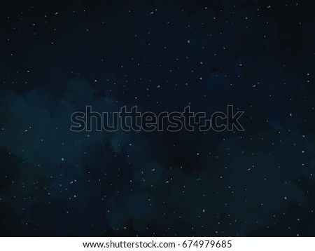 graphic illustration drawing of shinning stars in dark blue night sky. Idea of calm, peaceful, nature, art concept design template wallpaper