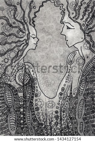 Graphic illustration of a gel black pen on tinted gray paper. Lovers man and woman in an effort to achieve unity. Drawing in the interior of the bedroom, bathroom, print on clothes, print on notebooks