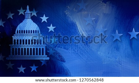 Graphic illustration of iconic American Capitol dome and simple ring of stars on abstract oil paint background. Conceptual graphic for political themed usage.
