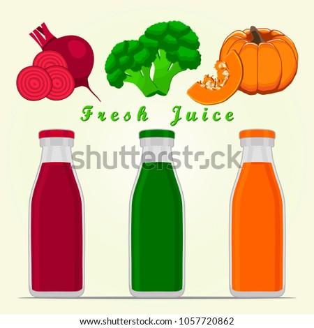 Graphic illustration of logo for vegetables beet, broccoli, pumpkin cut sliced. Beet drawing consisting of peel fruits, ripe sweet food. Drink fresh juice beets, broccoli, pumpkins in glass bottle.