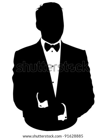 Graphic illustration of man in business suit as user icon, avatar - stock photo