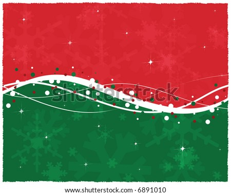 of red and green background with snow trim, white swoops and swirls ...