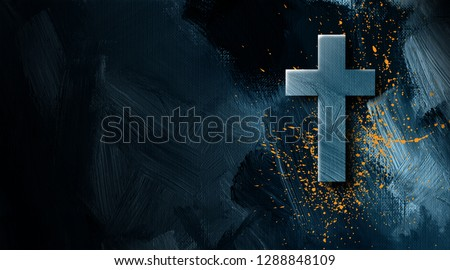 Graphic illustration of the Christian cross of Jesus Christ with grunge type splatter signifying His blood bought salvation. Contemporary art suitable for religious themed projects.