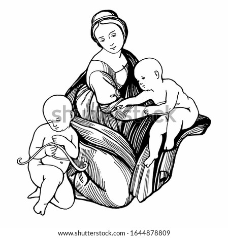 Graphic image of the Madonna and Child. Hand drawing outline isolated.  Sketch made from paintings by Raphael. Suitable for print, card, mother's day greetings. Stock illustration.