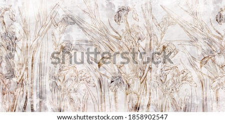 Graphic irises flowers painted on a grey grunge wall. Floral background. Design for wall mural, card, postcard, wallpaper, photo wallpaper. Foto stock ©