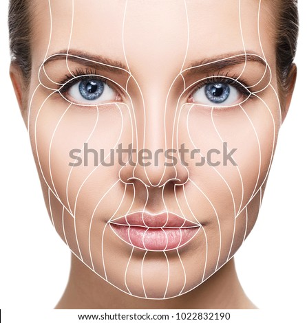 Graphic lines showing facial lifting effect on skin. Stock foto ©