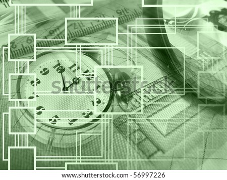 Graphic, magnifier, money and clock, collage about analysis.