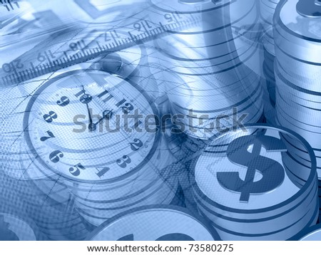 Graphic, magnifier, money and clock, collage about analysis in blues. - stock photo
