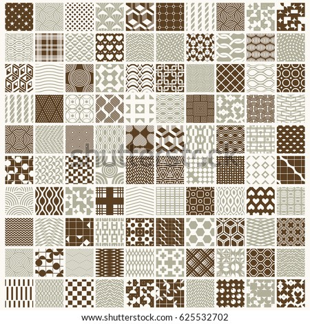 Graphic ornamental tiles collection, set of repeated patterns. 100 vintage art abstract textures can be used as wallpapers.
