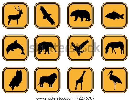 Graphic set of animal icons. JPG version.