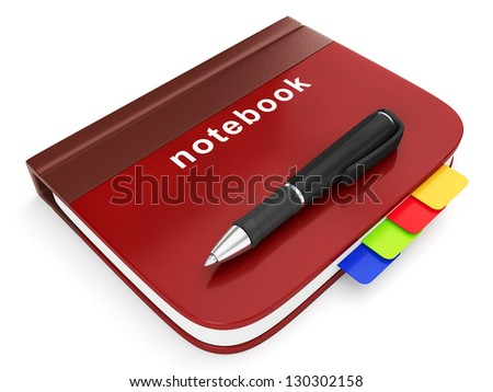 Graphic showing a notebook with a pen. Writing in a notebook, notebook for important notes