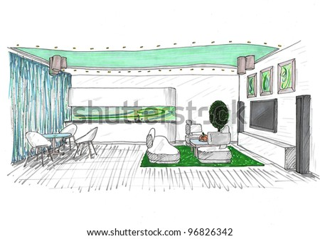 Graphic sketch a living room