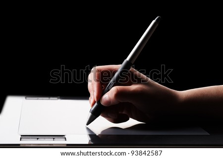 Graphic tablet and hand
