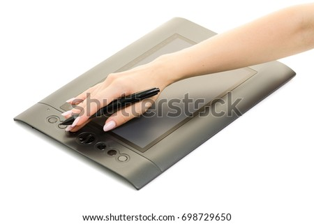 Graphic tablet female hands isolated on white background isolation Zdjęcia stock ©