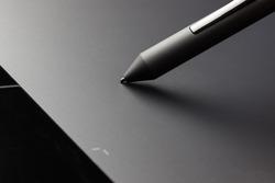 Graphic tablet pen stylus extreme closeup macro