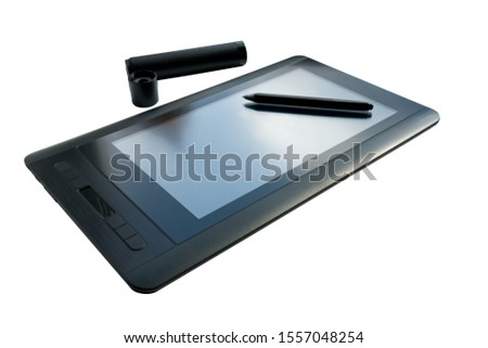 graphic tablet with pen for illustrators and designers, isolated on white background. #1557048254