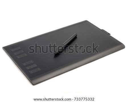 Graphic tablet with pen for illustrators and designers, isolated on white background #733775332