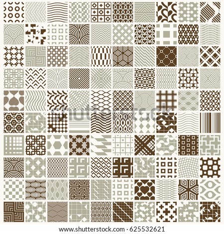 graphic vintage textures created with squares, rhombuses and other geometric shapes. 100 seamless patterns collection best for use in textiles design.