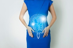 Graphic visualization of healthy human intestine organ, positive blue  bright color of recovery,  health of internal organs and detox. Vitamin supplement and health of organs concept.