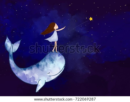 graphic watercolor digital painting of girl with whale reaching bright star over night sky background. Idea of imagination, hope, dream, fantasy, art, abstract, peace concept template wallpaper