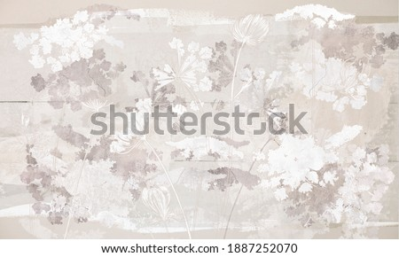 Graphic wildflowers painted on a brown concrete grunge wall. Floral background in loft, modern style. Design for wall mural, card, postcard, wallpaper, photo wallpaper.