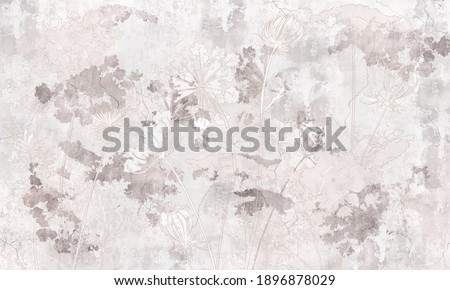 Graphic wildflowers painted on  concrete grunge wall. Floral background in loft, modern style. Design for wall mural, card, postcard, wallpaper, photo wallpaper.