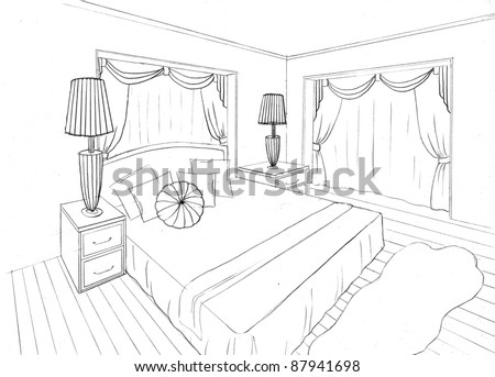 Graphical sketch of an interior apartment, bedroom