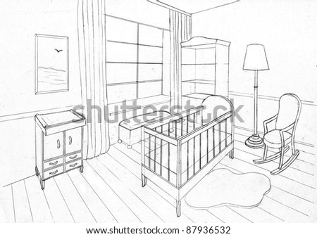 Graphical sketch of an interior apartment, childroom - stock photo