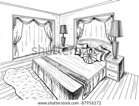 Graphical sketch of an interior bedroom stock photo for 3d bedroom drawing