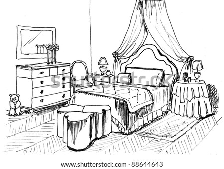 Graphical sketch of an interior child bedroom, liner