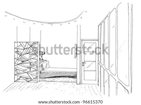 Graphical sketch of an interior child bedroom, liner - stock photo