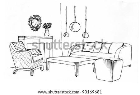 Graphical sketch of an interior living room, liner