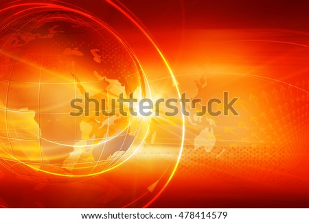 Graphical Sport News Background with World Map and Round Circles