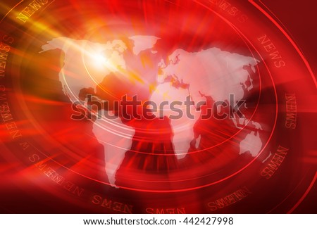 Graphical World News Studio Background, 3d illustration