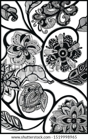 Graphics and ink. Plants in ink and pens. Decorative stylization. Beautiful silhouette in black and white. Monochrome composition. Monochrome drawing of flowers. Ethnic stylized flowers.