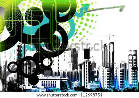 graphics city - stock photo
