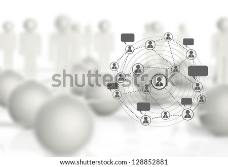 graphics white  human social network as concept - stock photo